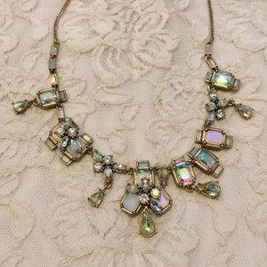 Opal rhinestone statement necklace